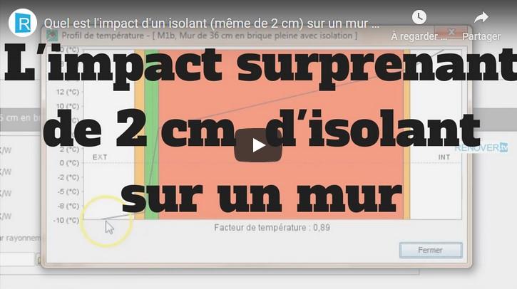 Explication en vidéo de l'impact de 2 cm d'isolant sur un mur plein